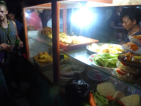 Testing the street food at the Night Markets
